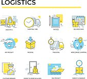 logistic icons.Thin lines. Flat design
