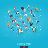 Logistic integrated 3d web icons. Digital network isometric interact concept. Connected graphic design dot and line system. Abstract background for warehouse, storage, shipping delivery and distributi