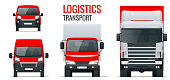 Logistics transport. Front view truck trailer, Semi truck, cargo delivery, van and minivan. Blank Freight delivery trucks. Isolated cargo vehicle set on white