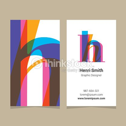 logo alphabet letter h with business card template
