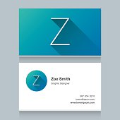 """Logo alphabet letter """"Z"""", with business card template. Vector graphic design elements for your company logo."""