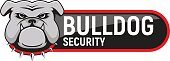 Logo Bulldog security. Emblem design on white background