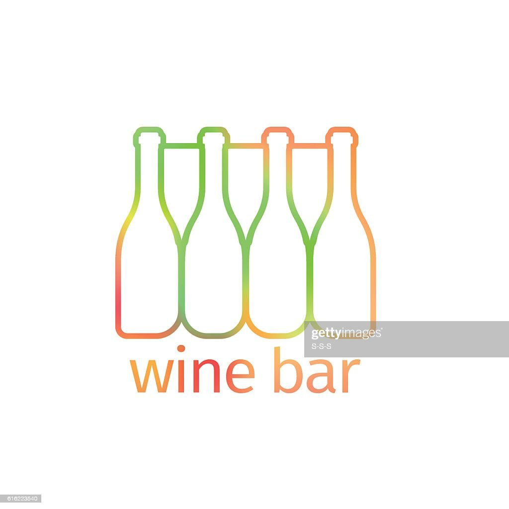 Logo design for bar with bottles : Vector Art