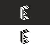 Logo E letter, initial monogram emblem, isometric geometric shape, black and white graphic design element