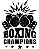 Vector vintage logo for a boxing with two gloves.