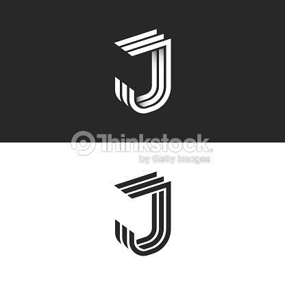 19390b2d3b Letra de insignia J en forma 3d geométricas líneas paralelas del monograma  inicial, blanco y