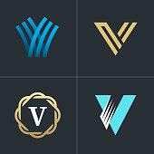 Logo letter V element set. Graphic design easy editable for Your design. Modern logotype icon.