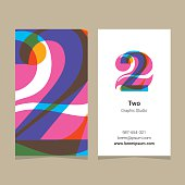 Logo number '2', with business card template. Vector graphic design elements for company logo.