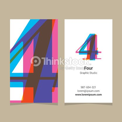 Logo number 4 with business card template arte vetorial thinkstock logo number 4 with business card template arte vetorial reheart Images