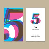 "Logo number ""5"", with business card template. Vector graphic design elements for company logo."