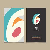 Logo number '6', with business card template. Vector graphic design elements for company logo.
