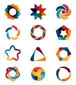 Logo templates set. Abstract circle creative signs and symbols. Circles, star, pentagon, hexagon and other design elements