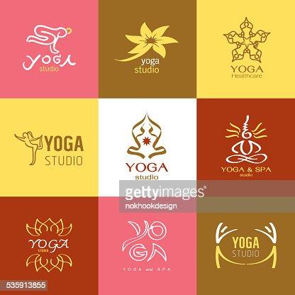 logos and Icons set for yoga studio or meditation class : Vector Art