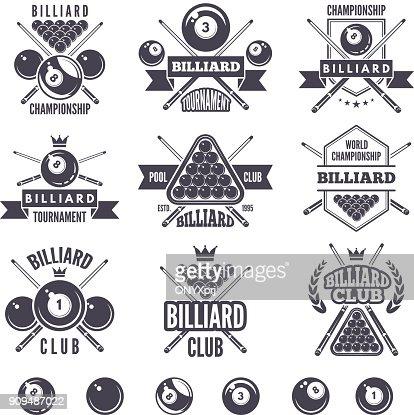 Logos set for billiard club : stock vector
