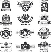 Logotypes and symbols of photo studios. Photo camera and photography studio. Vector illustration