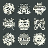 Logotypes Hand Craft Vintage. Outline Insignias. Vector Illustration. Dark Background.