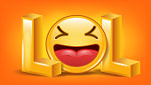 Lol Concept Vector. Happy Face. Cheerful Laugh. Funny Icon Illustration
