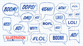 Lol Speech Bubbles Skech Set Vector. Fun Symbol. Emotion. Facial Expression. Expressions Hand Drawn Lol Stickers. Teen Slang. Illustration