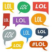 Lol Speech Bubbles Vector. Fun Symbol. Emotion. Facial Expression. Expressions Lol Stickers. Teen Slang. Illustration