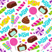 Lollipop caramel candy seamless vector pattern. Assorted sweets endless background. Pattern with dessert candy snack illustration