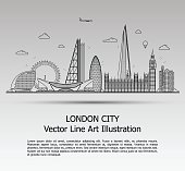 Line Art Vector Illustration of Modern London City with Skyscrapers. Flat Line Graphic. Typographic Style Banner. The Most Famous Buildings Cityscape on Gray Background.