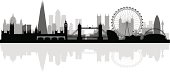 London city skyline silhouette background, vector illustration Full editable EPS 10. File contains gradients and transparency.