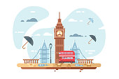 London city skyline vector illustration. Famous places of interest such as Big Ben tower and british double decker bus flat style concept. Clouds and umbrellas on background