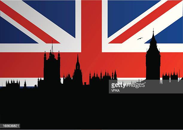 London parliament silhouette with British flag