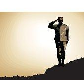 A US marine salutes on a rocky ridge. Fully layered.