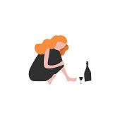 Lonely woman flat vector illustration. Sad girl sitting on floor, drinking wine. Cartoon character on blue background. Personal problems, bad mood, loneliness concept drawing. Female alcoholic clipart