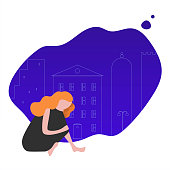 Lonely woman flat vector illustration. Sad girl thinking, dreaming on night city background. Ð¡artoon character isolated clipart. Female issues, loneliness concept. Teenager, student at home alone