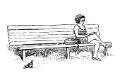 A sketchh of a casual townswoman resting on a park bench.