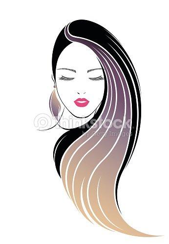 Long Hair Style Icon Logo Women Face Stock Vector Thinkstock