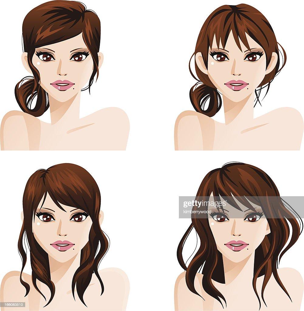 Long Hair Style : Vector Art