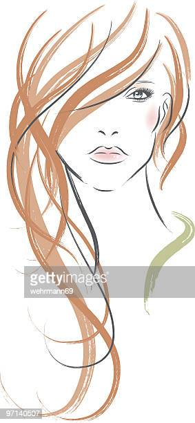 Long redhaired woman