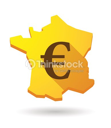 Long Shadow France Map Icon With A Currency Sign Vector Art Thinkstock