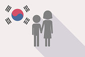 Illustration of a long shadow South Korea flag with a childhood pictogram