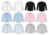 long sleeve business shirt illustration set / color variation