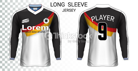 Manga Larga Camisetas De Fútbol Camiseta Deporte Maqueta Plantilla ... df6fbb491be12