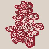 Longevity symbols(Chinese traditional paper-cut art)