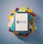 E-book, stack of books. Illustration contains transparency and blending effects, eps 10