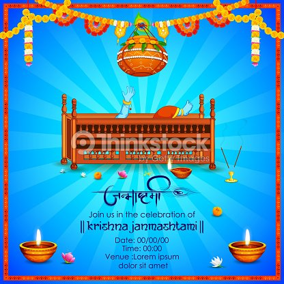 Lord krishna with hindi text meaning happy janmashtami festival of lord krishna with hindi text meaning happy janmashtami festival of india vector art stopboris Gallery