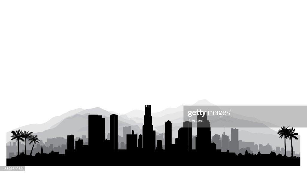 los angeles usa skyline city silhouette with skyscraper buildings rh thinkstockphotos com  los angeles city skyline vector