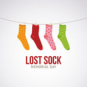 Lost Sock Memorial Day Vector Illustration.