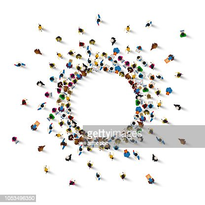 A lot of people stand in a circle on a white background. Vector illustration : stock vector