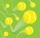 Cartoon illustration of bouncing tennis balls