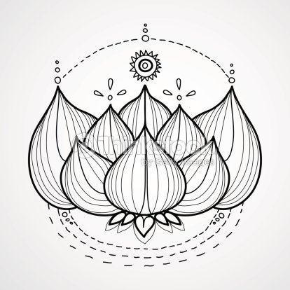 Lotus Flower Black And White Vector Background Vector Art | Thinkstock