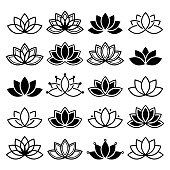 Black and white lotus flowers icons, different shapes and styles
