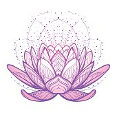Lotus flower. Intricate stylized linear drawing isolated on white background. Concept art for Hindu yoga and spiritual designs. Tattoo design. EPS10 vector illustration.