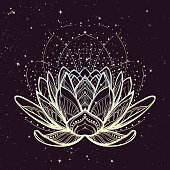 Lotus flower. Intricate stylized linear drawing on starry nignt sky background. Concept art for Hindu yoga and spiritual designs. Tattoo design. EPS10 vector illustration.